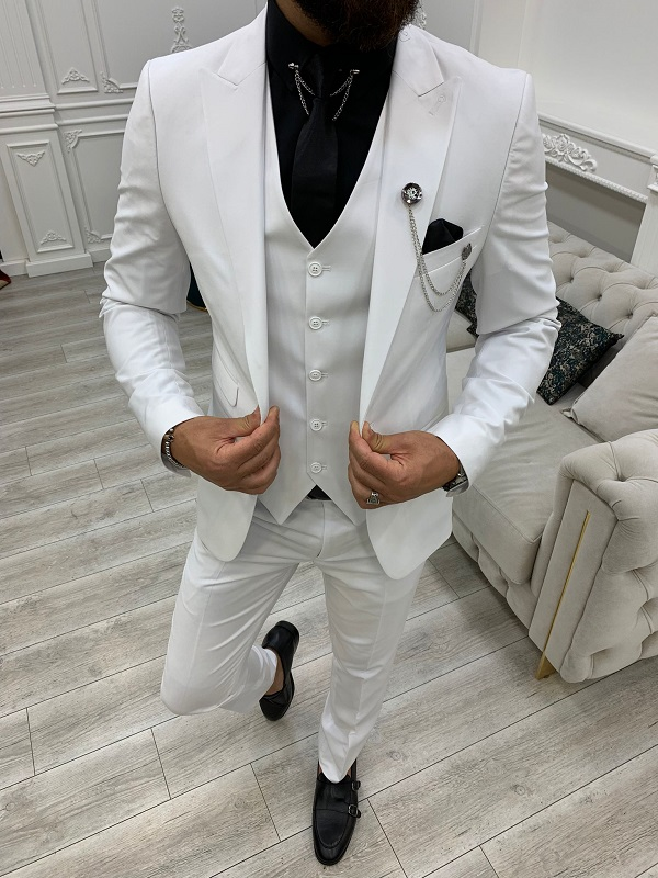 White Slim Fit Peak Lapel Suit for Men by GentWith.com with Free Worldwide Shipping