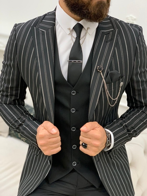 Black Slim Fit Peak Lapel Striped Suit for Men by GentWith.com with Free Worldwide Shipping