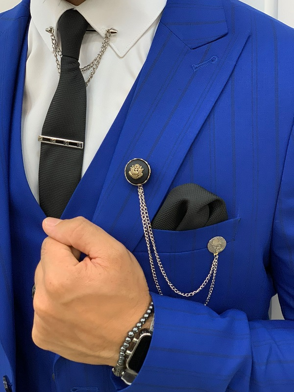 Blue Slim Fit Peak Lapel Striped Suit for Men by GentWith.com with Free Worldwide Shipping