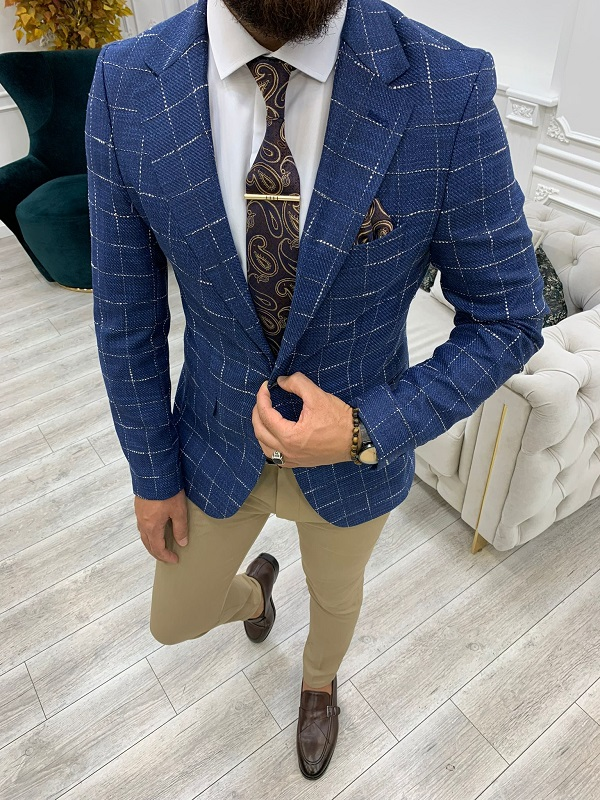 Blue Slim Fit Plaid Blazer for Men by GentWith.com with Free Worldwide Shipping
