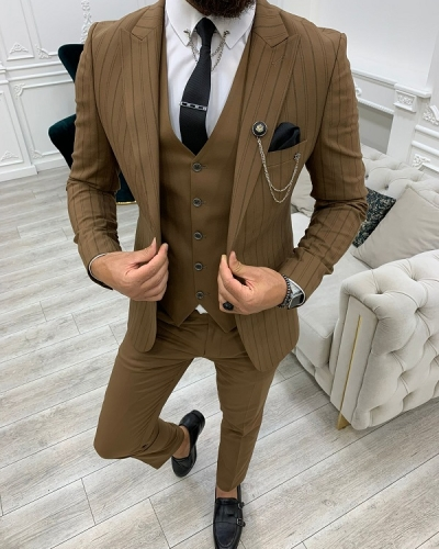 Brown Slim Fit Peak Lapel Striped Suit for Men by GentWith.com with Free Worldwide Shipping