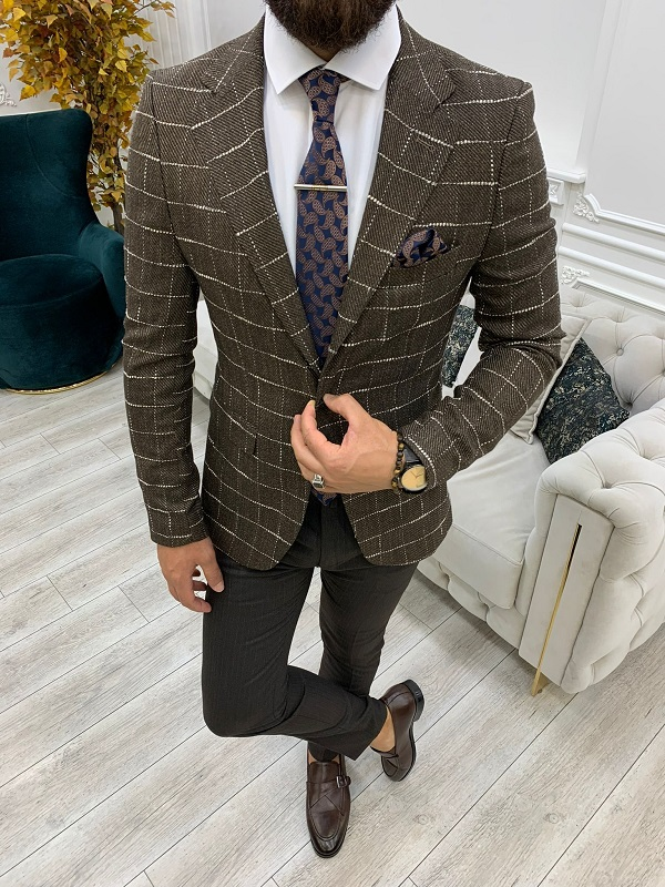 Brown Slim Fit Plaid Blazer for Men by GentWith.com with Free Worldwide Shipping