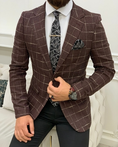 Burgundy Slim Fit Plaid Blazer for Men by GentWith.com with Free Worldwide Shipping