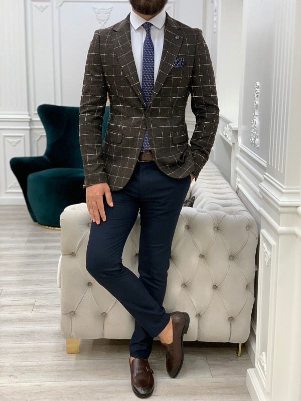 Coffee Slim Fit Plaid Blazer for Men by GentWith.com with Free Worldwide Shipping