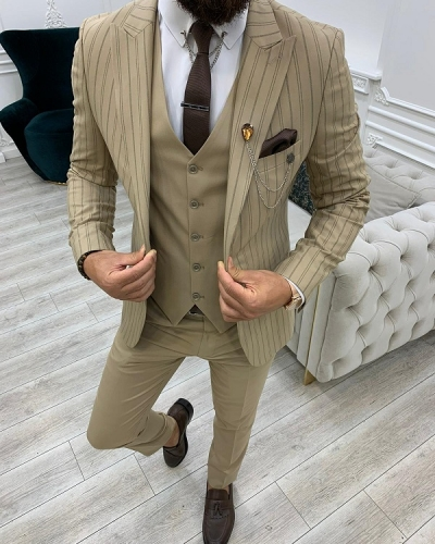 Cream Slim Fit Peak Lapel Striped Suit for Men by GentWith.com with Free Worldwide Shipping