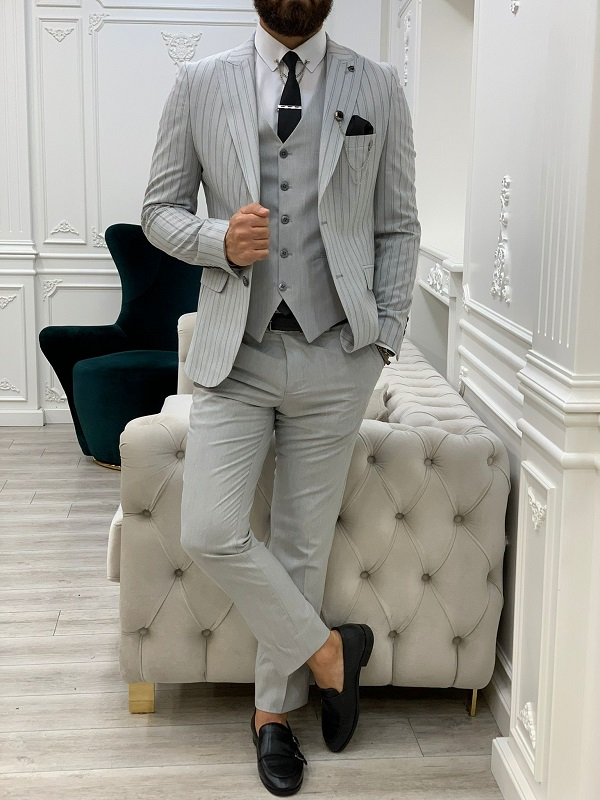 Gray Slim Fit Peak Lapel Striped Suit for Men by GentWith.com with Free Worldwide Shipping