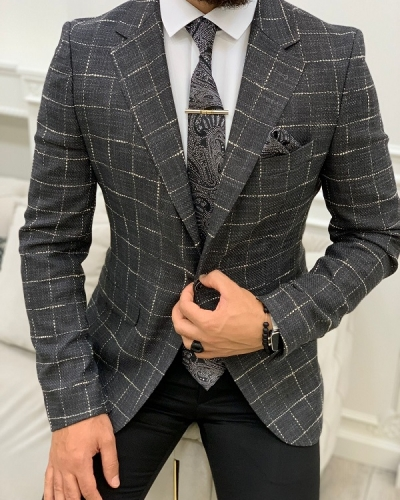 Gray Slim Fit Plaid Blazer for Men by GentWith.com with Free Worldwide Shipping