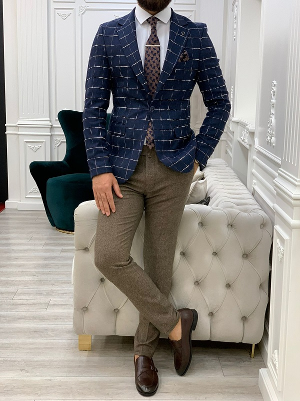 Navy Blue Slim Fit Plaid Blazer for Men by GentWith.com with Free Worldwide Shipping