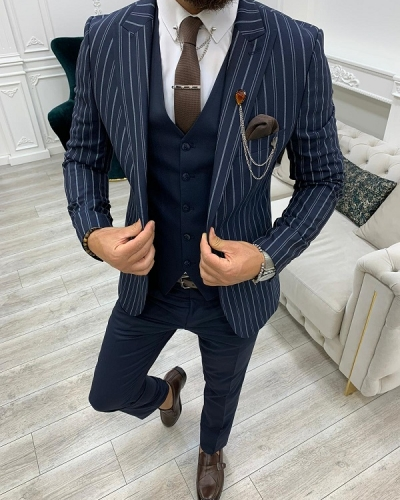 Navy Blue Slim Fit Peak Lapel Striped Suit for Men by GentWith.com with Free Worldwide Shipping