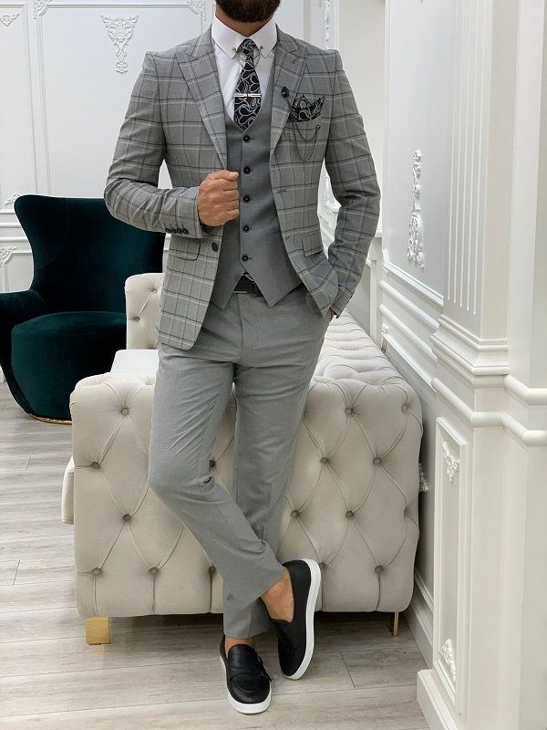 Gray Slim Fit Peak Lapel Plaid Suit for Men by GentWith.com with Free Worldwide Shipping