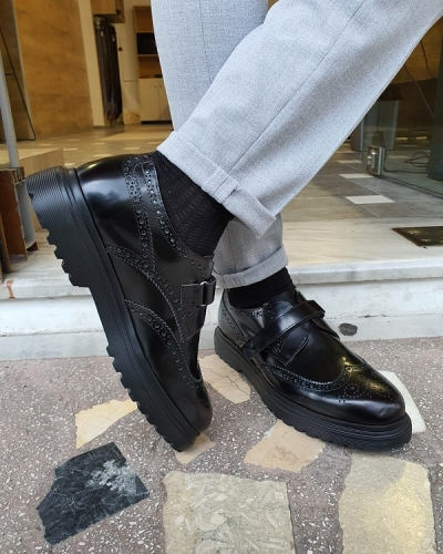Black Wing Tip Buckle Loafers for Men by GentWith.com with Free Worldwide Shipping