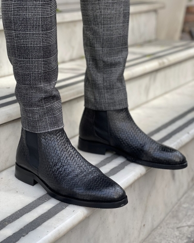 Black Woven Leather Chelsea Boots for Men by GentWith.com with Free Worldwide Shipping