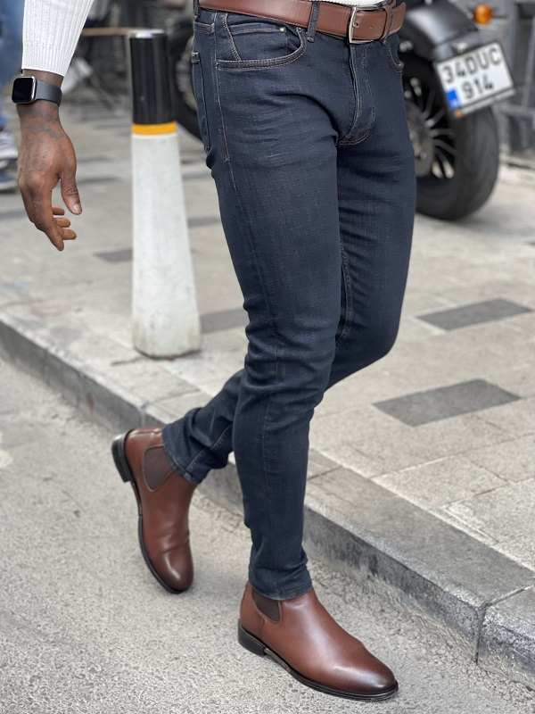 Blue Slim Fit Jeans for Men by GentWith.com with Free Worldwide Shipping