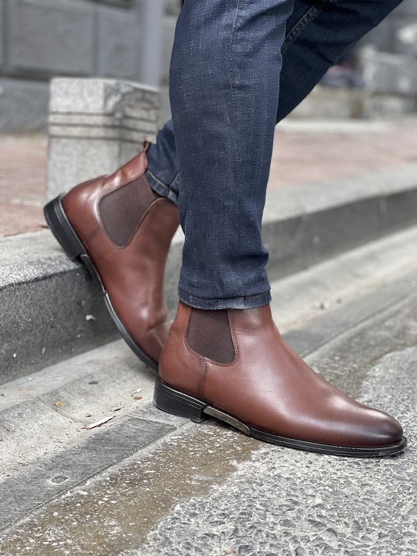 Brown Chelsea Boots for Men by GentWith.com with Free Worldwide Shipping