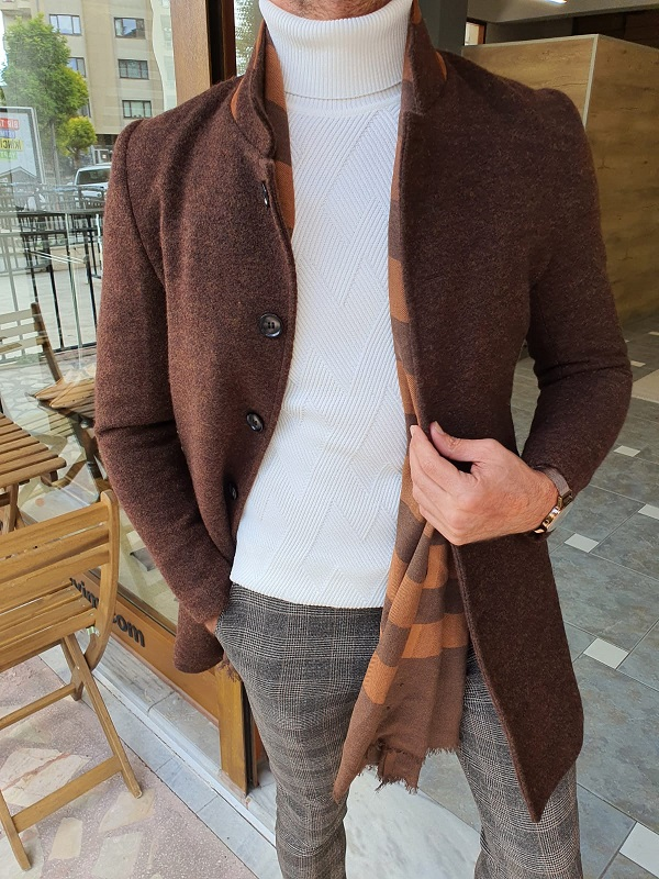 Brown Slim Fit Wool Long Coat for Men by GentWith.com with Free Worldwide Shipping