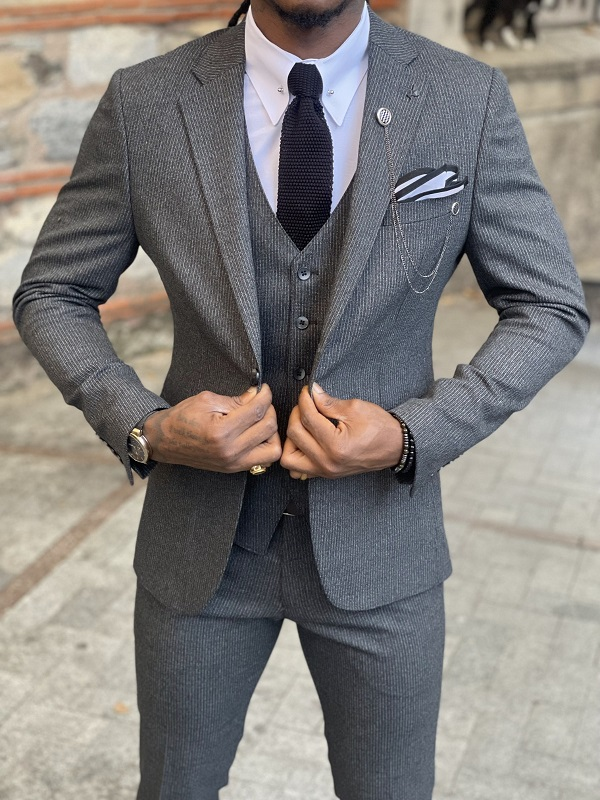 Dark Gray Slim Fit Notch Lapel Wool Suit for Men by GentWith.com with Free Worldwide Shipping
