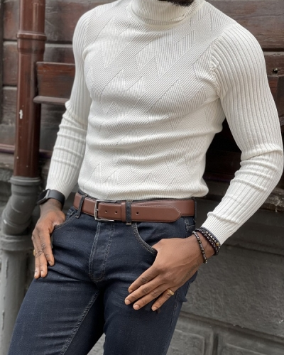 White Slim Fit Turtleneck Sweater for Men by GentWith.com with Free Worldwide Shipping