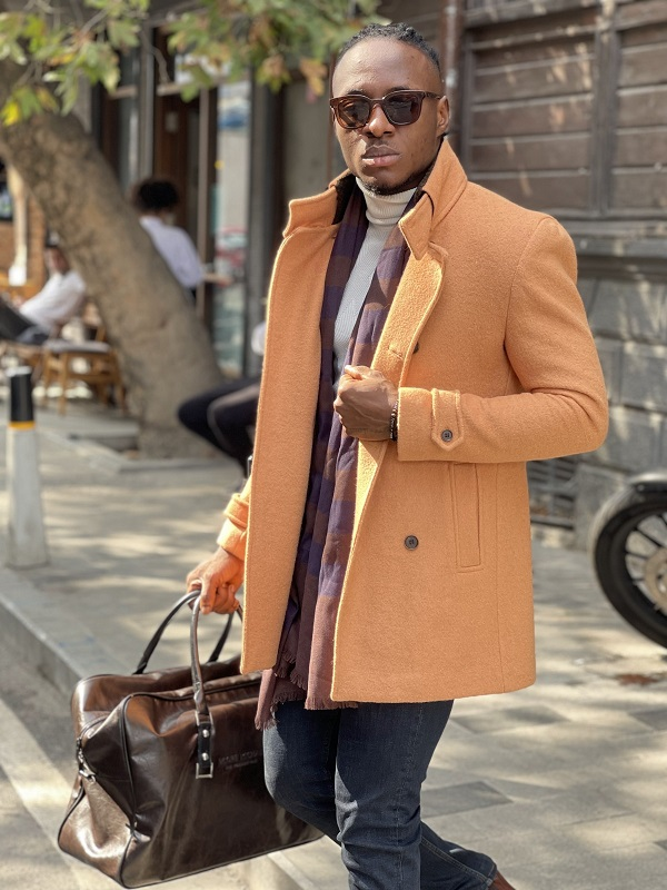 Beige Slim Fit Double Breasted Wool Long Coat for Men by GentWith.com with Free Worldwide Shipping