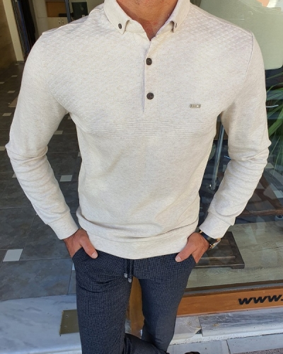 Beige Slim Fit Long Sleeve Polo Shirt for Men by GentWith.com with Free Worldwide Shipping