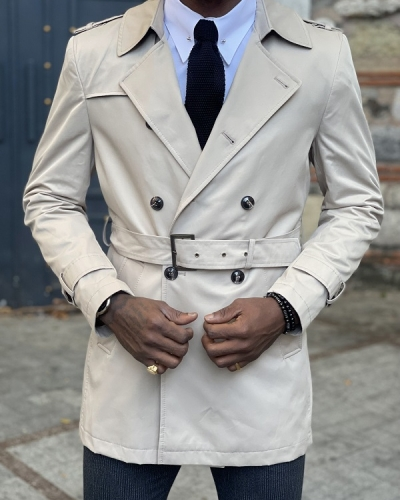 Beige Slim Fit Trench Coat for Men by GentWith.com with Free Worldwide Shipping
