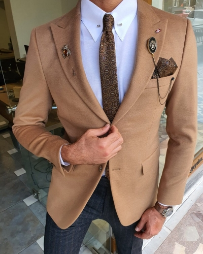 Beige Slim Fit Wool Coat for Men by GentWith.com with Free Worldwide Shipping