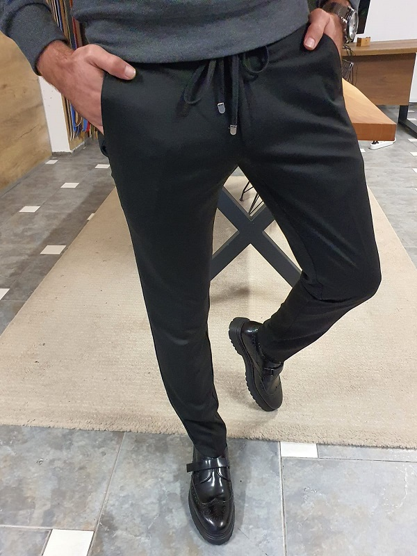 Black Slim Fit Lace Up Pants for Men by GentWith.com with Free Worldwide Shipping