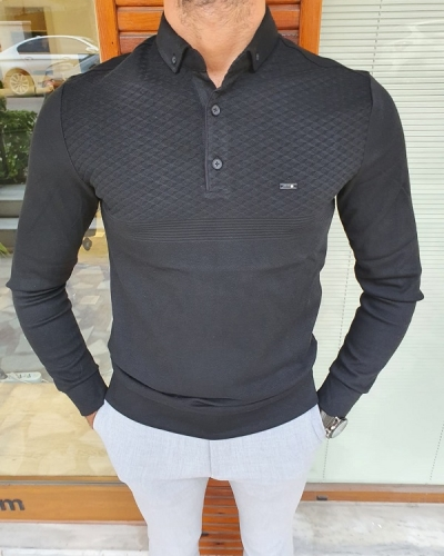 Black Slim Fit Long Sleeve Polo Shirt for Men by GentWith.com with Free Worldwide Shipping