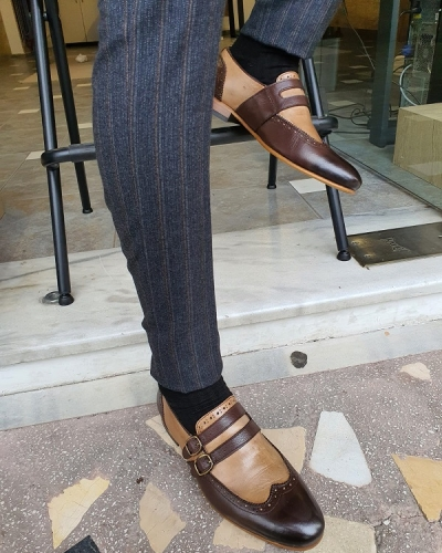 Brown Wing Tip Buckle Loafers for Men by GentWith.com with Free Worldwide Shipping