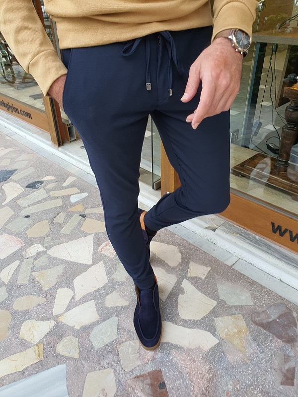 Dark Blue Slim Fit Lace Up Pants for Men by GentWith.com with Free Worldwide Shipping