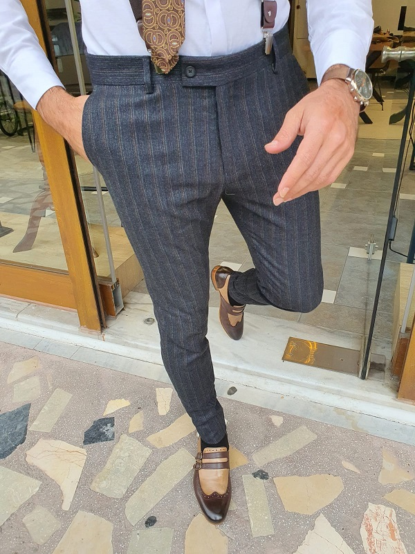 Dark Blue Slim Fit Striped Pants for Men by GentWith.com with Free Worldwide Shipping