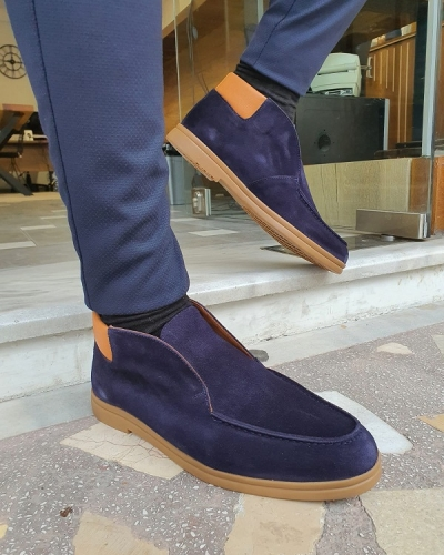 Dark Blue Suede Loafers for Men by GentWith.com with Free Worldwide Shipping