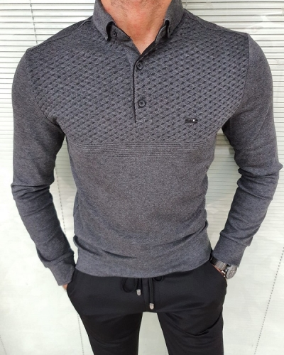 Dark Gray Slim Fit Long Sleeve Polo Shirt for Men by GentWith.com with Free Worldwide Shipping