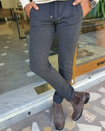 Gray Slim Fit Lace Up Plaid Pants for Men by GentWith.com with Free Worldwide Shipping