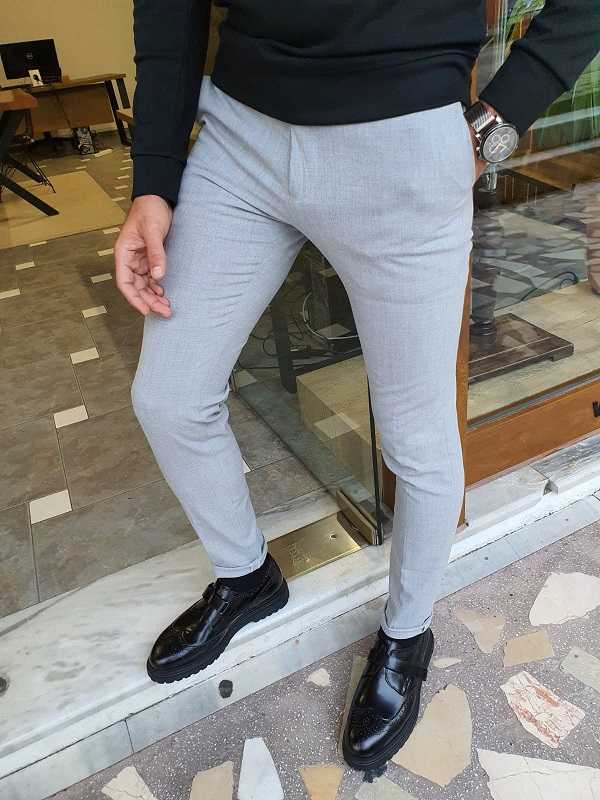 Gray Slim Fit Pants for Men by GentWith.com with Free Worldwide Shipping
