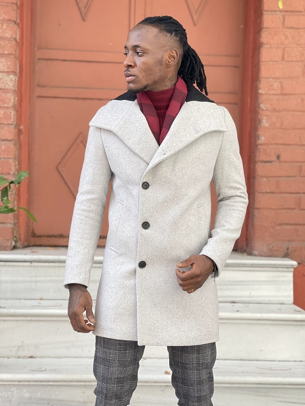 Gray Slim Fit Wool Long Coat for Men by GentWith.com with Free Worldwide Shipping
