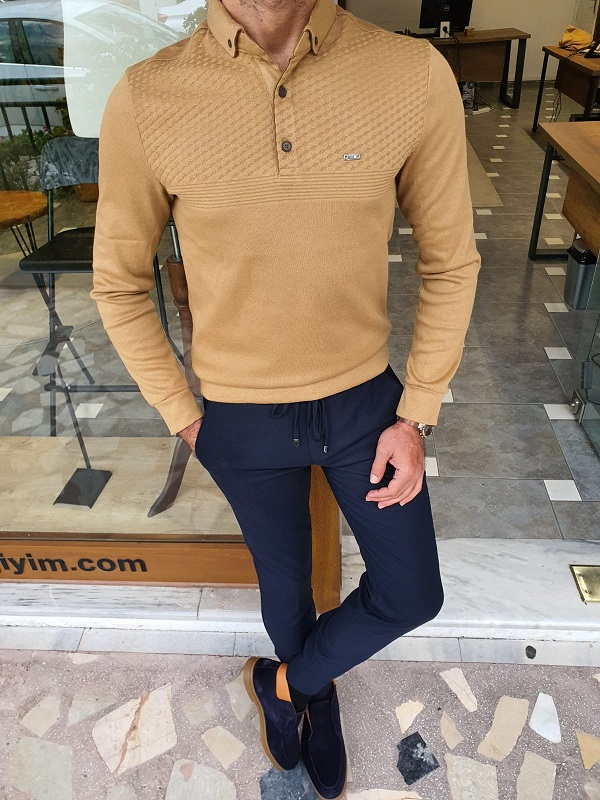 Mustard Slim Fit Long Sleeve Polo Shirt for Men by GentWith.com with Free Worldwide Shipping