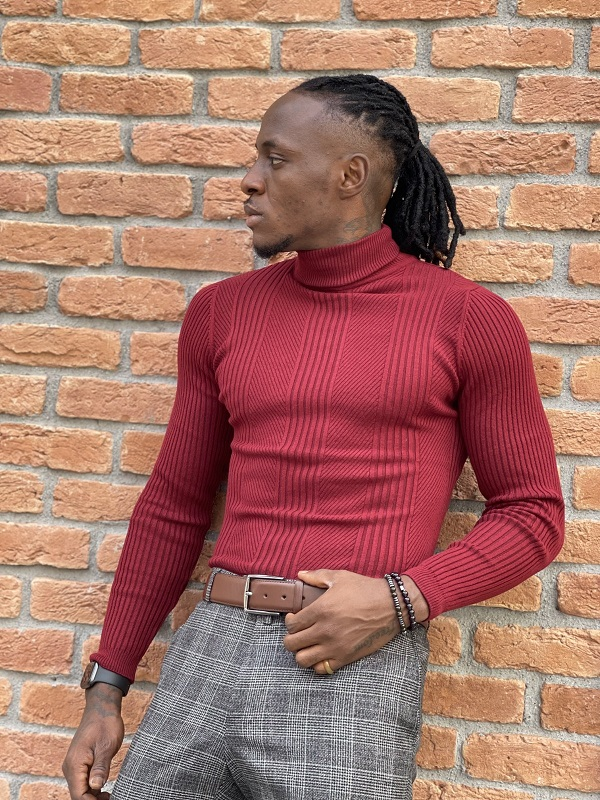 Red Slim Fit Turtleneck Sweater for Men by GentWith.com with Free Worldwide Shipping
