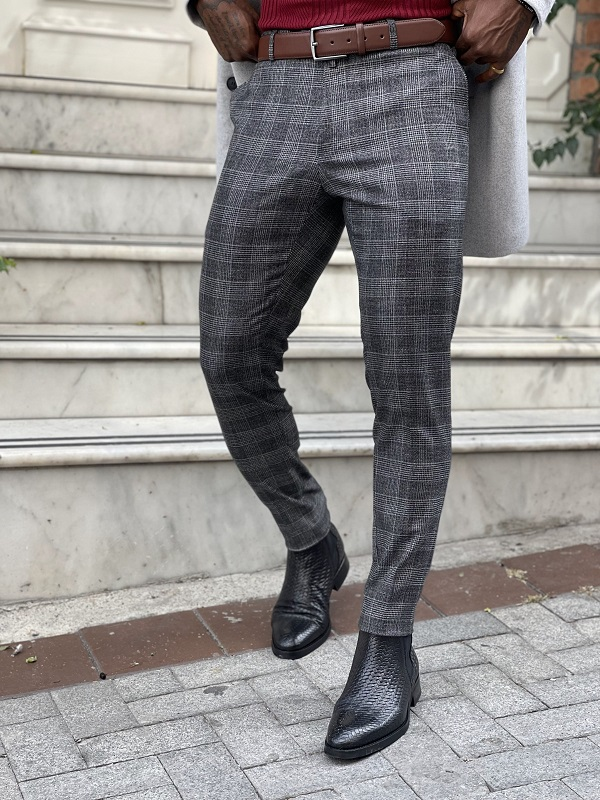 Black Slim Fit Plaid Pants for Men by GentWith.com with Free Worldwide Shipping