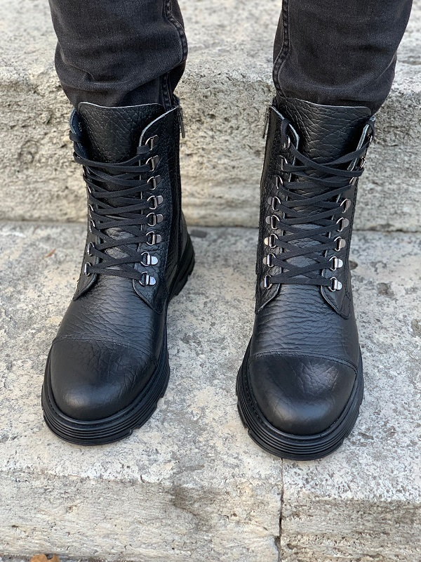 Black Cap Toe Lace Up Ankle Boots for Men by GentWith.com with Free Worldwide Shipping