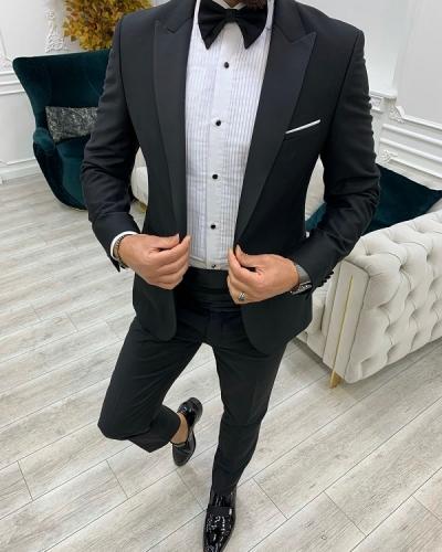 Black Slim Fit Peak Lapel Cummerbund Tuxedo for Men by GentWith.com with Free Worldwide Shipping