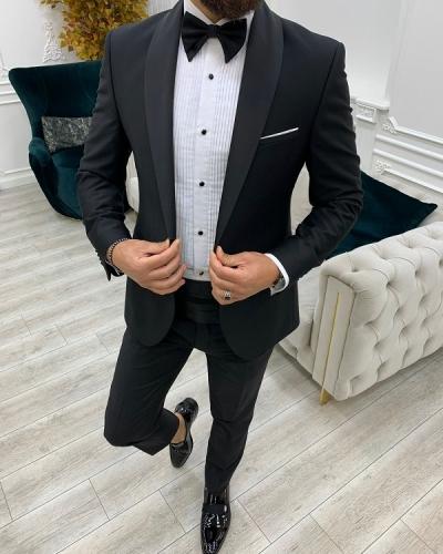 Black Slim Fit Shawl Lapel Cummerbund Tuxedo for Men by GentWith.com with Free Worldwide Shipping