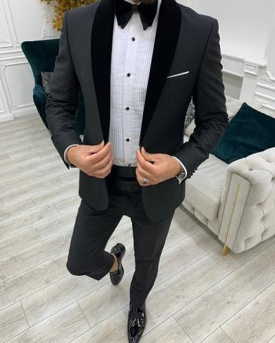 Black Slim Fit Velvet Shawl Lapel Cummerbund Tuxedo for Men by GentWith.com with Free Worldwide Shipping