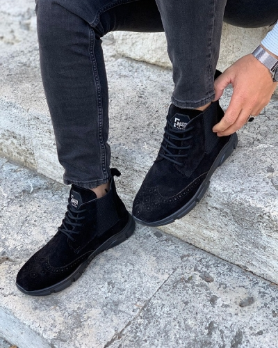 Black Wing Tip Suede Lace Up Chelsea Boots for Men by GentWith.com with Free Worldwide Shipping