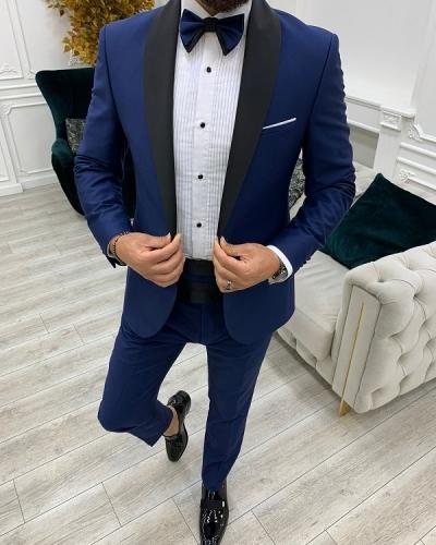 Blue Slim Fit Shawl Lapel Cummerbund Tuxedo for Men by GentWith.com with Free Worldwide Shipping