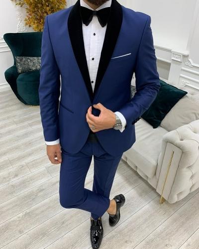 Blue Slim Fit Velvet Shawl Lapel Cummerbund Tuxedo for Men by GentWith.com with Free Worldwide Shipping
