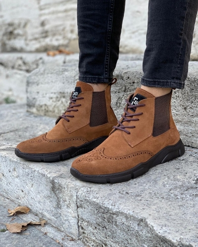 Brown Wing Tip Suede Lace Up Chelsea Boots for Men by GentWith.com with Free Worldwide Shipping
