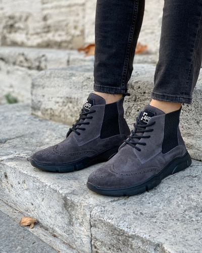 Gray Wing Tip Suede Lace Up Chelsea Boots for Men by GentWith.com with Free Worldwide Shipping