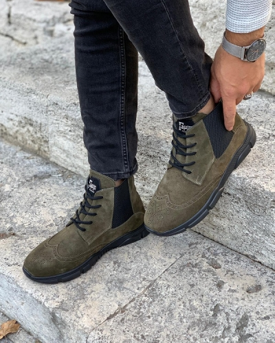 Green Wing Tip Suede Lace Up Chelsea Boots for Men by GentWith.com with Free Worldwide Shipping