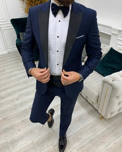 Navy Blue Slim Fit Peak Lapel Cummerbund Tuxedo for Men by GentWith.com with Free Worldwide Shipping