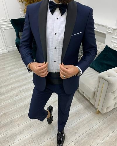 Navy Blue Slim Fit Shawl Lapel Cummerbund Tuxedo for Men by GentWith.com with Free Worldwide Shipping